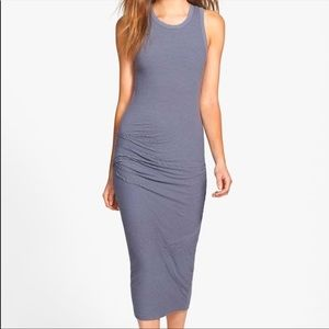 James Perse Striped Midi Dress Tank Ruched Dress